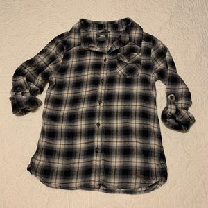Roots kids girls size Large button plaid shirt.